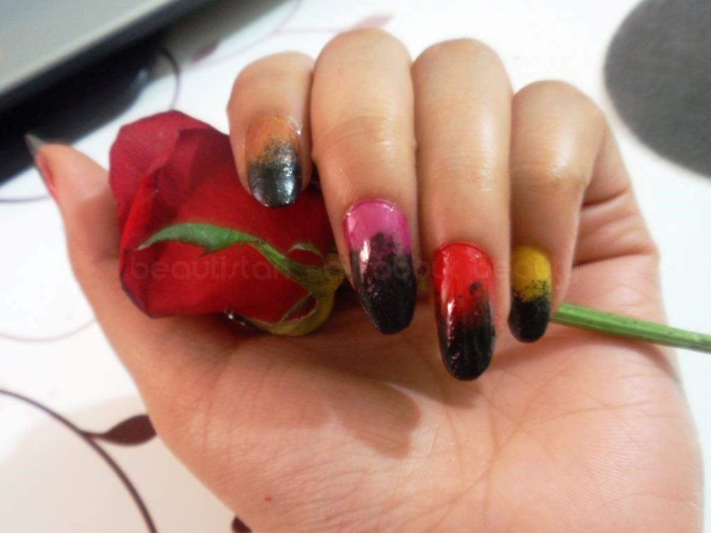 Colorful Gradient Nail Art Using Sponge Tutorial Beautyclix