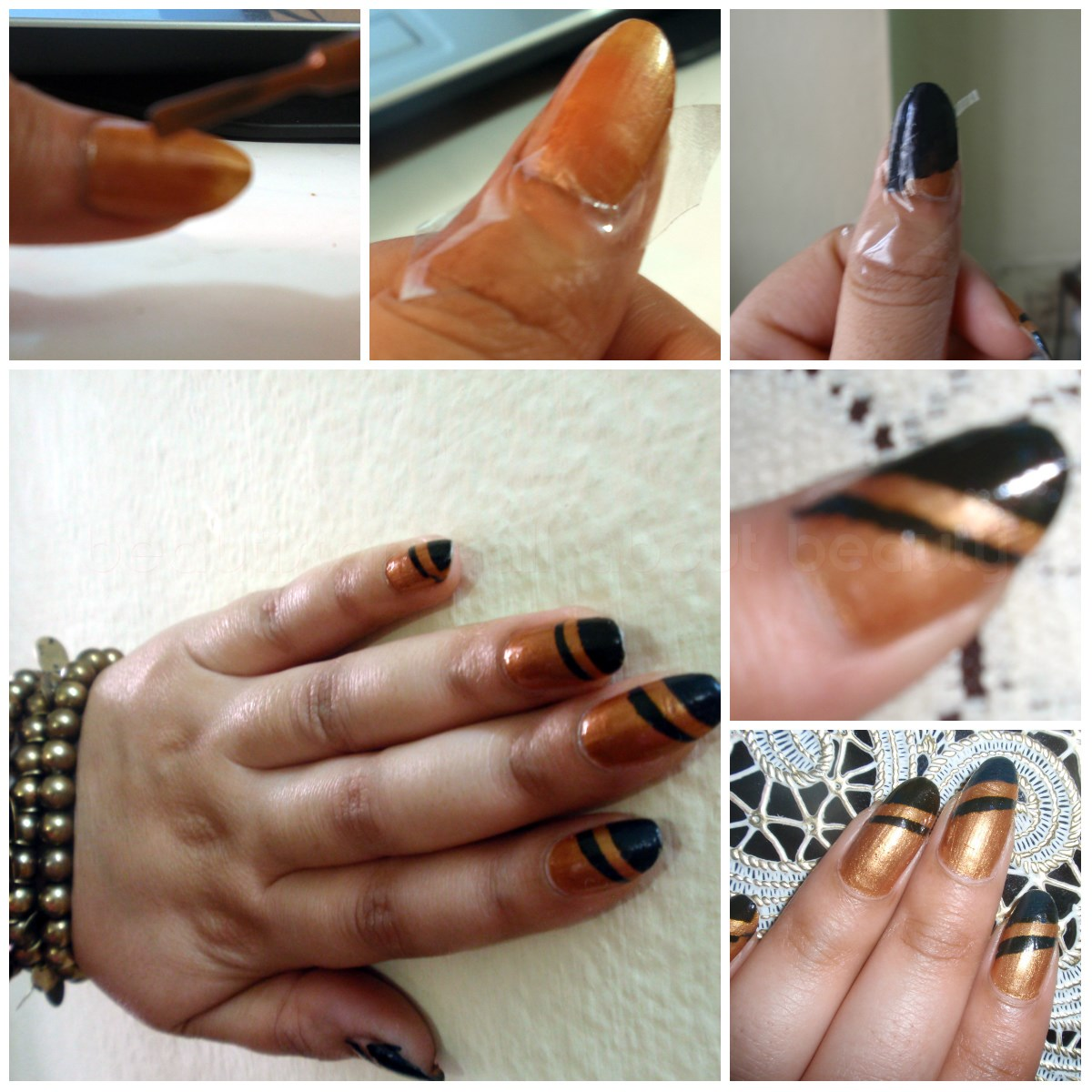 Gold And Black Stripe Nail Art With Tape Beautyclix